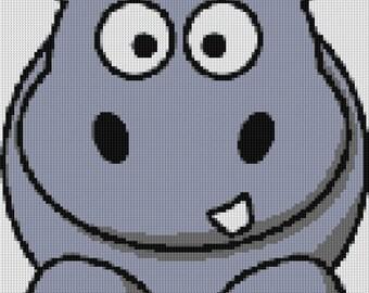 Cute Hippo Cross Stitch Pattern