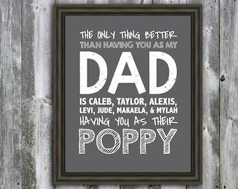 Personalized DAD, Poppy, Grandpa, Papa, Quote - Wall Art - Customizable- Fathers Day Gift-  Grandchildren's Names-