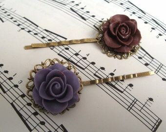 Rose bobby pins hair grip set - burgundy wine and lavender purple on vintage inspired bronze filigree