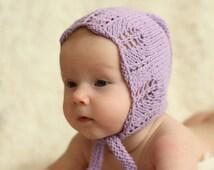 lovingly handmade knitted soft, breathable cotton baby bonnet, lavender, violet, nb, 0-3 3-6 6-12 months, hat,  lace edges, spring, summer