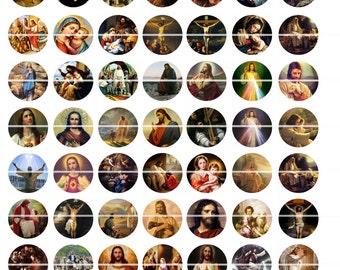 "Religious Catholic Jesus Digital Collage Sheet, bottle caps 63 Circle Round 1X1""  images, vol.2   Buy 2 collage sheet Get 1 FREE"