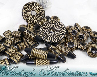 Black with Gold Accents Acrylic Bead Mix