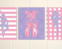 Ballerina wall art, girls ballerina room, ballet art, dance art, baby girl nursery, set of 3 prints