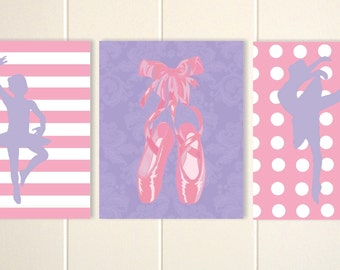 Ballerina wall art, girls ballerina room, ballet art, dance art, baby girl nursery, set of 3 prints