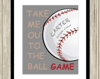 Boys sports art, baseball nursery art, baseball wall art, take me out to the ball game, baby boy nursery art, baseball themed poster
