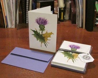 RAE Thistle Note Card Set, set of 8 note cards with matching envelopes