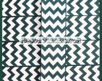 "5 yds 7/8"" Hunter Green  Chevron Striped Grosgrain Ribbon"