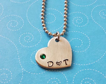 Two Initial Heart Pendant with Embedded Birthstone