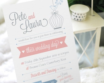 Printable birdcage wedding invitation