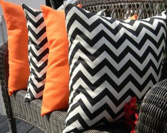 "Set of 4 Pillow Covers - 17"" Indoor / Outdoor Decorative Pillow Covers - Solid Orange & Black and Ivory Zig Zag/ Chevron"
