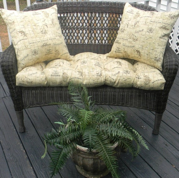 Items Similar To Indoor Outdoor Cushion For Wicker Loveseat 3 Pc Set Tommy Bahama Fabric