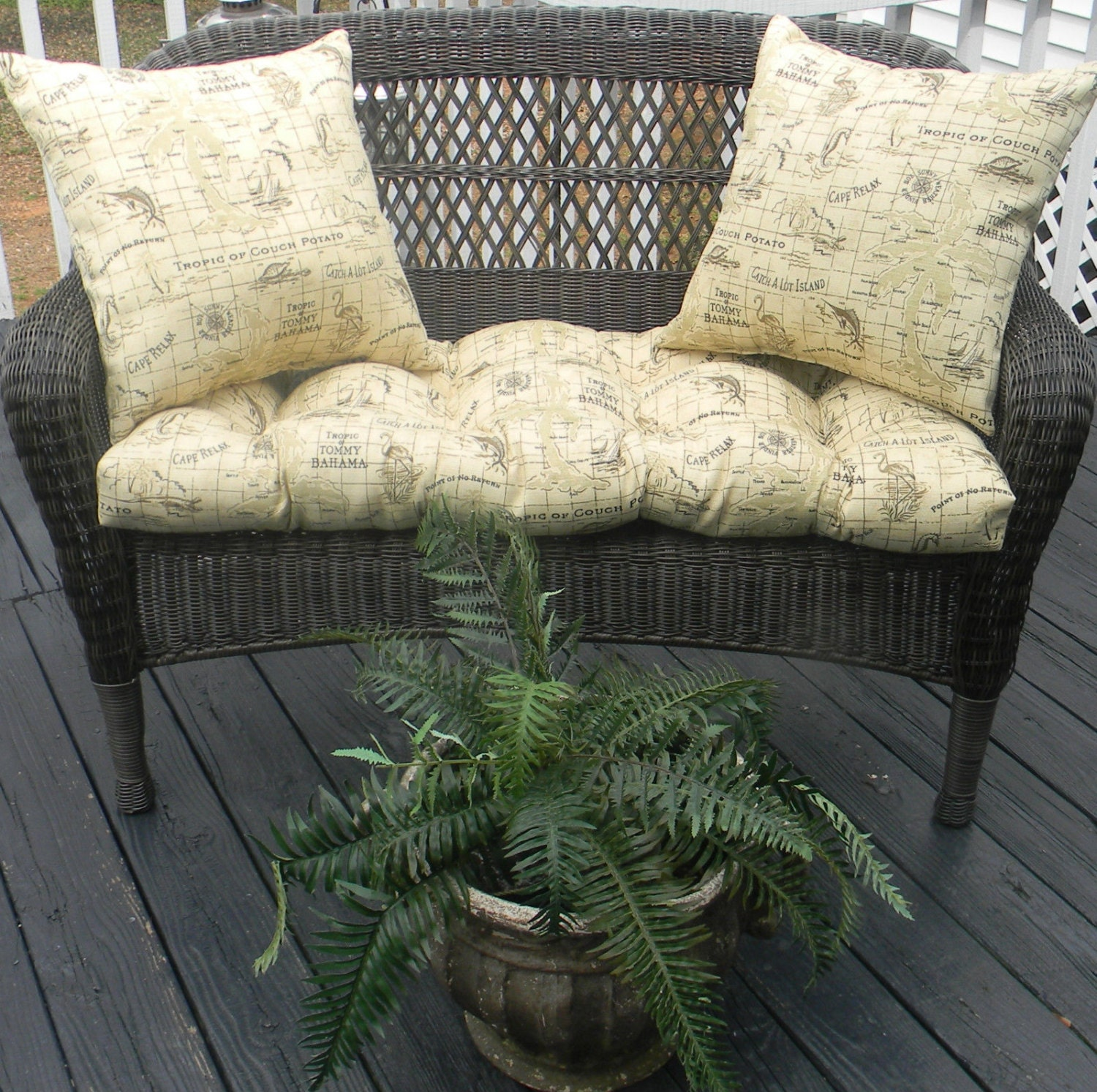 Indoor Outdoor Cushion For Wicker Loveseat 3 Pc Set Tommy