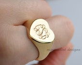 Sterling Silver,Signet Ring, gold, Monogram, Engraved Ring, Bridesmaids Ring, Valentines Day, DHL Express Shipment
