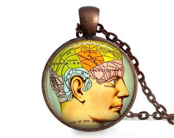 Phrenology head necklace vintage medicine pendant brain science charm.