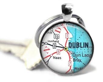 Dublin map key ring Dublin Ireland vintage map keychain travel key chain. Choose from 2 styles.
