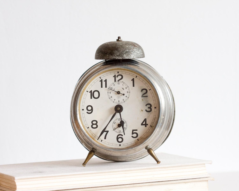 Clock Wedding Gift: Alarm Clock, Antique German Desk Clock, Retro Clock, Gray