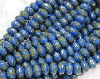 Opaque Cobalt Blue with Picasso, Faceted Rondelle Czech Beads, 25 Beads - Item 1540