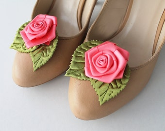 Rose Shoe Clips with handmade flowers