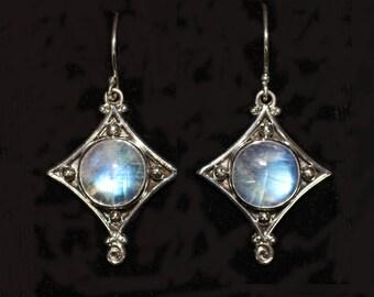 Rainbow Moonstone Sterling Silver Earrings: CHERISE