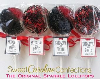 Red and Black Lollipops with Custom Tags, Halloween Wedding Favors, Halloween Lollipops, Sweet Caroline Confections, Set of Six Lollipops
