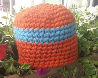 READY TO SHIP: Mens Crochet Beanie Hat - Handmade Wood Blend Chunky Beanie in Orange with Blue Wide Stripe Winter, Fall and Gifts