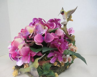 Floral Arrangement withHummingbird bird figurine on floral arrangement OOAK