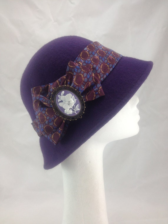 Ladies hatDownton abbey hat Purple vintage hat  1920s ladies hat  cameo brooch $42.92 AT vintagedancer.com