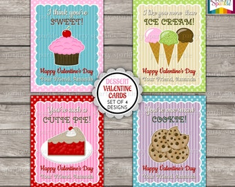 Valentines Day Printable Cards - Sweet Desserts - Kids Personalized Digital Party Handouts
