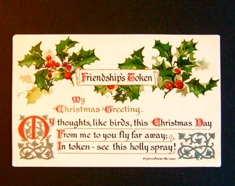 Vintage Christmas Poem & Holly Post Card