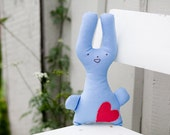Blue Embroidered bunny  - Cotton Plush Stuffed toy - MeadowDewDesigns