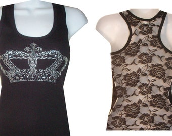Rhinestone CROWN Lace Back Tank Top Shirt Black Size:S, To XL Free Shipping available in white color sport