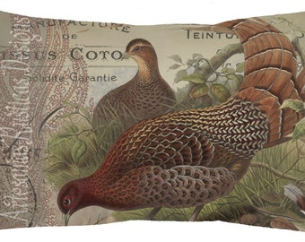 French Pillow 100% Cotton Canvas and Burlap Pheasants Paisley and French Script Lumbar Pillow Cover