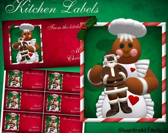 "Gingerbread Girl ""Chocolate Santa Kitchen Labels - Digital Download"