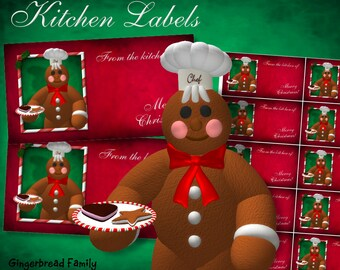 "Gingerbread Man ""Cookies"" Kitchen Labels - Digital Download"