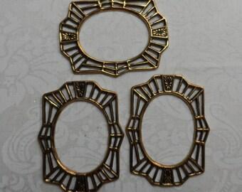 "Vintage gold plate brass open design border blank,1&1/2"",3pcs-KC232"