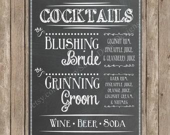 Custom Chalkboard Wedding Signature Cocktail Sign Printable