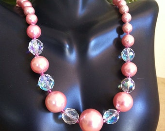 Vtg Watermelon AB Glass Beaded Necklace