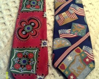 Two Mens Vintage Wide Neckties, Cotton Tango and Silk Lavatelli, Mens Patriotic Ties, Patriotic Neckties, Tango Neckties, Lavatelli Necktie