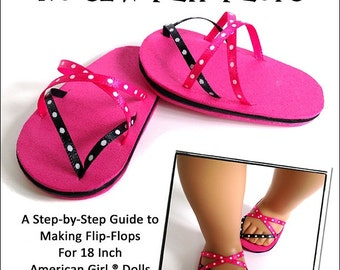 Pixie Faire Miche Designs No Sew Flip Flops 18 inch Doll Shoe Pattern for American Girl Dolls - PDF