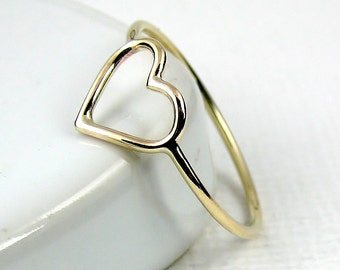 Solid Gold Heart Ring, 9 Karat Gold Ring, 18 Karat Gold Ring, Skinny Ring, Open Heart Ring, Slim Ring, Minimalist Ring