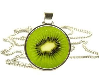 Kiwi fruit Pendant, Kiwi fruit Necklace, Fruit Jewelry