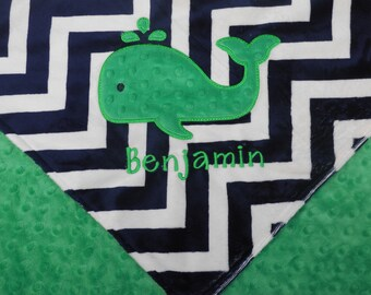 Personalized Baby Blanket, Green Whale Baby Blanket, Nautical Blanket, Minky Baby Blanket, Made to Order