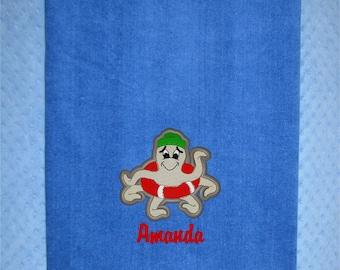 Extra Large Octopus Personalized Beach Towel - Monogrammed Bath Towel Custom Honeymoon Towel Extra Large Monogram Camp Towel