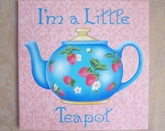 Little teapot, original painting, acrylic, canvas, kitchen sign, Glenda Okiev