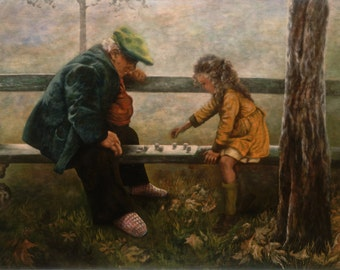 Playing Checkers, grandfather, granddaughter, fine art giclee reproduction, original painting, Glenda Okiev