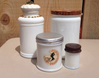 Vintage White Milk Glass Jars (4)