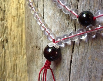 Genuine quartz crystal and garnet Buddhist Mala Prayer Beads yc100