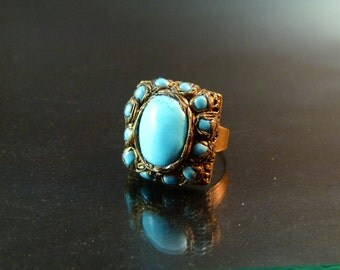 Turquoise Fashion Ring,  Old Style Jewelry, Unique Jewelry, OOAK Ring, Mediterranean style jewelry
