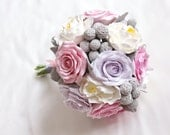 Bridal bouquet. Shabby chic romantic  blush pink, white, and lavender bridal wedding bouquet. Shabby chic deco clay flowers.
