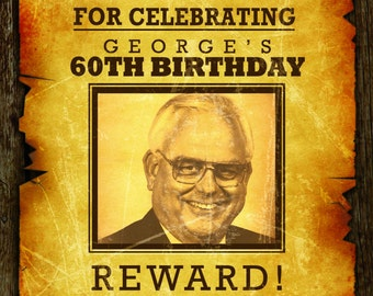 Wanted Birthday Invitation - Western Cowboy Wanted Poster Adult Birthday Invitation